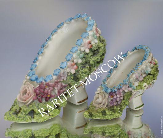 Винтажные предметы интерьера. Ярмарка Мастеров - ручная работа. Купить РЕДКОСТЬ Туфель пара цветы ваза фарфор Англия 1. Handmade.