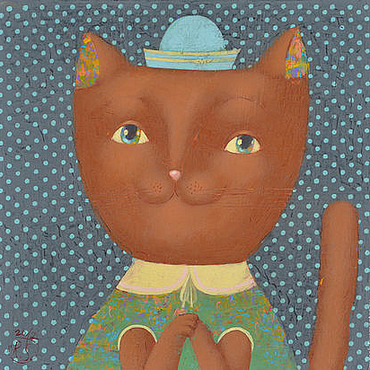 Картины и панно ручной работы. Ярмарка Мастеров - ручная работа Кошка в горошек. Handmade.