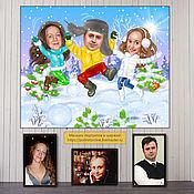 Сувениры и подарки handmade. Livemaster - original item Family gift for New year. Christmas cartoon on the photo to order. Handmade.