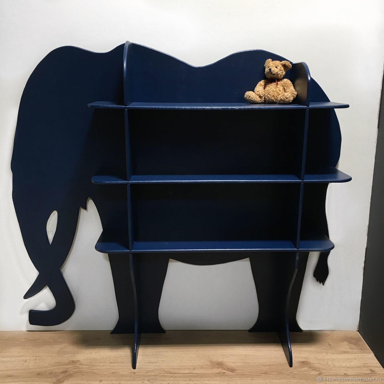 Planters handmade. Livemaster - handmade. Buy Shelf shelving Elephant 20cm.Handmade, dark blue, rack, children's, wooden decor