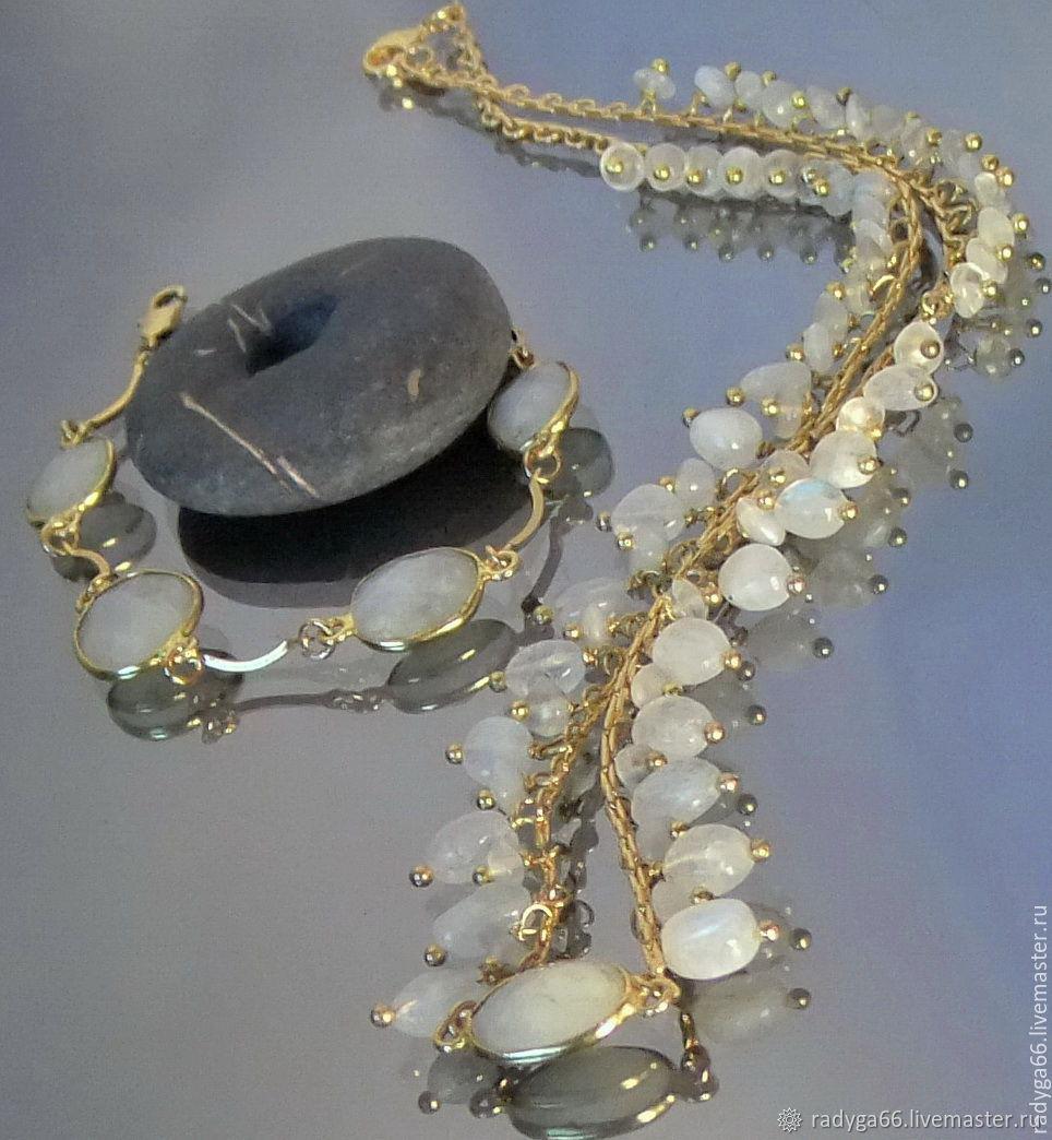 """Золотой браслет из адуляра и позолоченного серебра""""Лунное сияние""""»"""