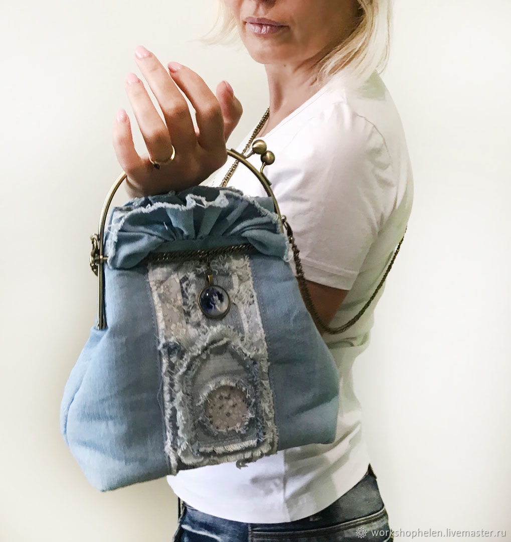 Denim purse on a clasp with an Angel, Clasp Bag, Volgorechensk,  Фото №1