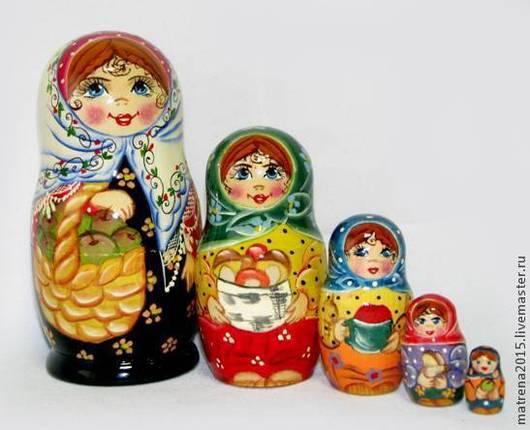 Матрешки ручной работы. Ярмарка Мастеров - ручная работа. Купить матрешка Яблочный спас 5 кукол. Handmade. Разноцветный
