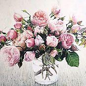 Картины ручной работы. Ярмарка Мастеров - ручная работа Авторское жикле Пионовидные розы в банке 80х80 см. Handmade.