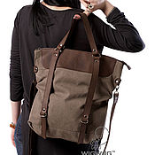 Сумки и аксессуары ручной работы. Ярмарка Мастеров - ручная работа Женская сумка-трансформер, серый канвас и коричневая кожа. Handmade.