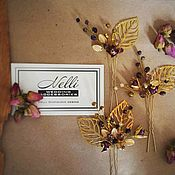 Свадебный салон ручной работы. Ярмарка Мастеров - ручная работа Золотисто-фиолетовые шпильки-листики. Украшения для волос/прически. Handmade.