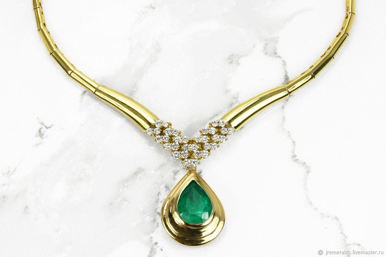 6.99tcw Impressive Colombian Emerald & Diamond Necklace 18k, Diamond E, Necklace, West Palm Beach,  Фото №1