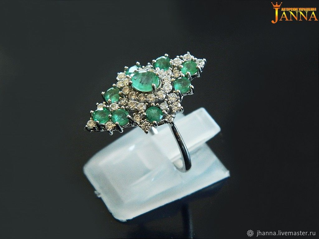 emerald. ' I'll take the green paint' ring with emerald, Rings, Volgograd,  Фото №1