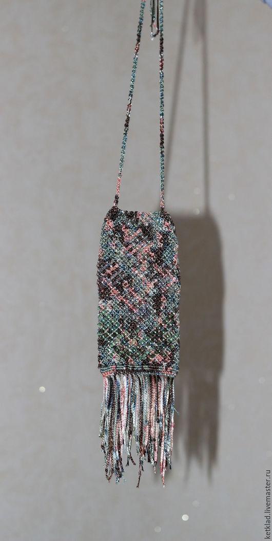 Для телефонов ручной работы. Ярмарка Мастеров - ручная работа. Купить Нагрудная сумочка в технике макраме. Handmade. Комбинированный