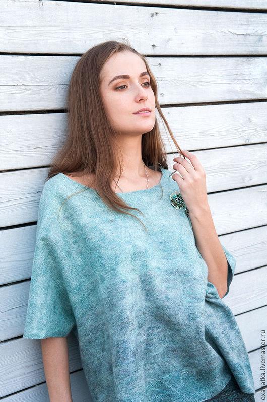 Кофты и свитера ручной работы. Ярмарка Мастеров - ручная работа. Купить Валяный свитшот Тихие заводи. Handmade. Мятный