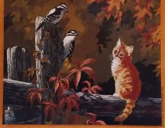 """Животные ручной работы. Ярмарка Мастеров - ручная работа. Купить Картина """"Кот и дятлы"""". Handmade. Животные, дятлы, природа, Теплота"""