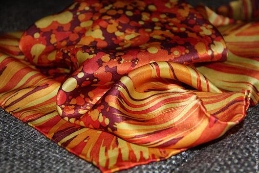 """Шали, палантины ручной работы. Ярмарка Мастеров - ручная работа. Купить Шейный платок """"Солнечный день"""" батик. Handmade. Оранжевый"""