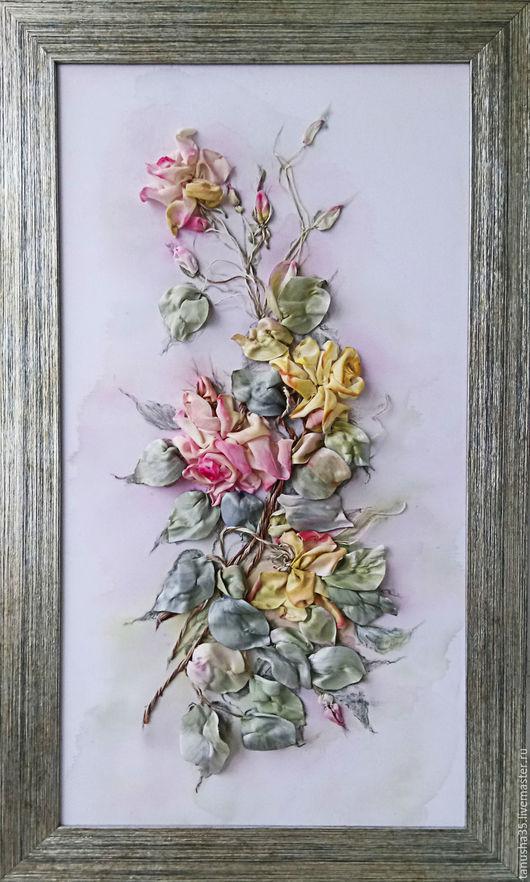"""Картины цветов ручной работы. Ярмарка Мастеров - ручная работа. Купить Картина лентами """"Розы нежные"""". Handmade. Бледно-розовый"""