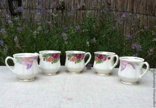 """Винтажная посуда. Ярмарка Мастеров - ручная работа. Купить Чашки """"Нежность"""", костяной фарфор,Англия, 70-е гг. Handmade."""