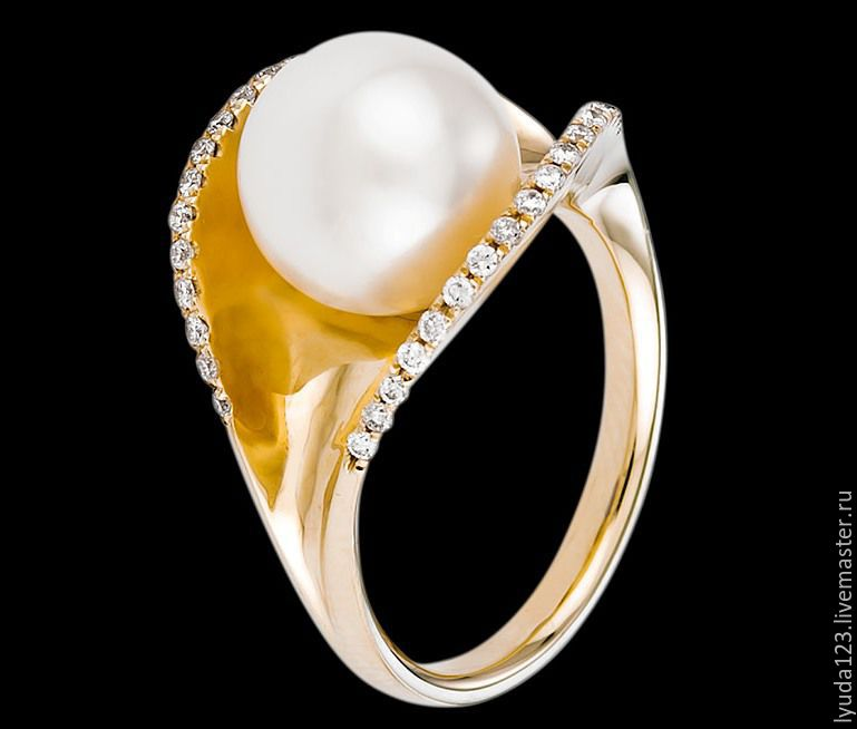 The ring from gold of 585 tests with pearls and diamonds, Rings, Tel Aviv,  Фото №1