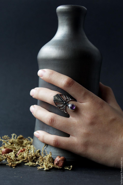 "Серебряное кольцо с аметистом ""Symbol&Eye"", Кольца, Санкт-Петербург,  Фото №1"