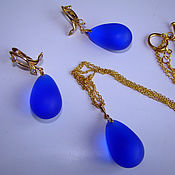 Украшения handmade. Livemaster - original item Gilded set with drops of jewelry glass Luxury of blue. Handmade.