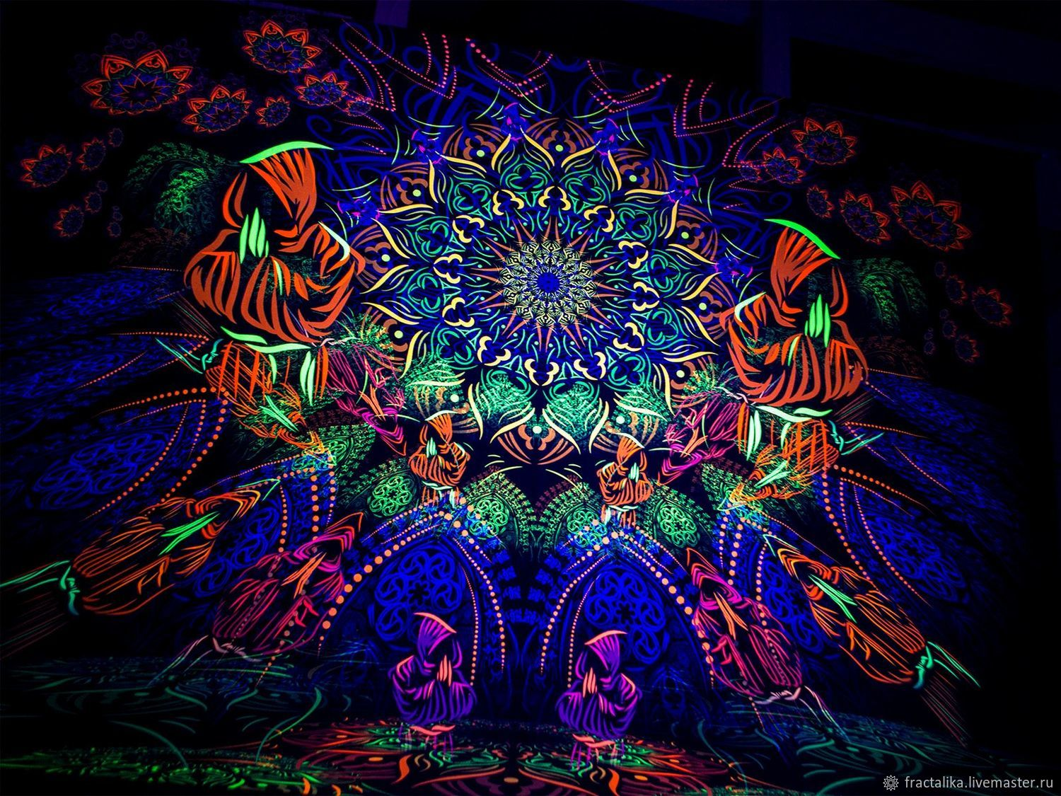 Luminous psychedelic canvas 'Cosmic monks gathering», Pictures, Moscow,  Фото №1