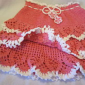 Работы для детей, handmade. Livemaster - original item SKIRT with ruffle White rose knit summer. Handmade.