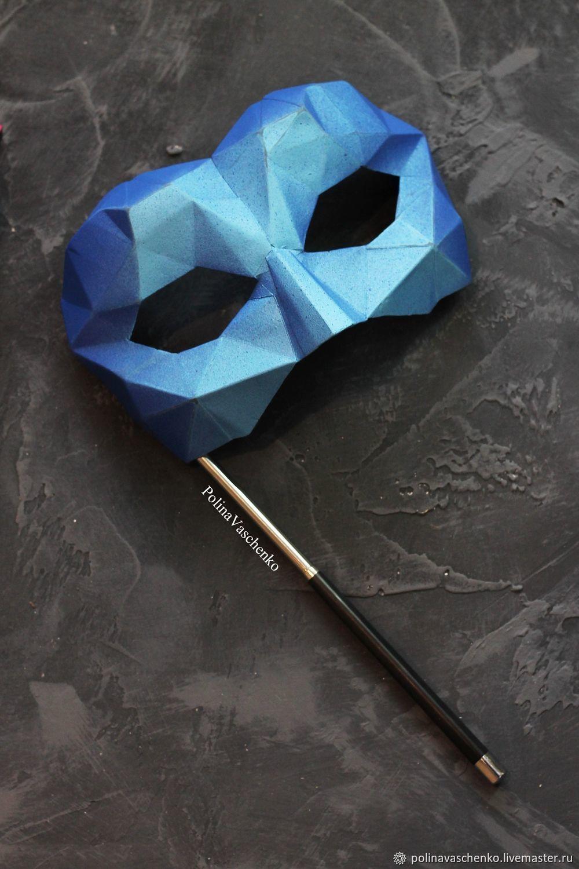 Карнавальная маска мужская на держателе Faceted, Костюмы, Санкт-Петербург,  Фото №1