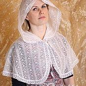 Работы для детей, handmade. Livemaster - original item Lace Cape with hood for godmother or mother. Handmade.