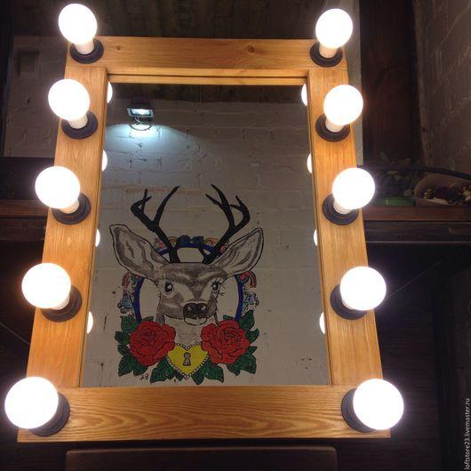 Зеркала ручной работы. Ярмарка Мастеров - ручная работа. Купить Гримерное зеркало SUMMER OAK.. Handmade. Коричневый, креатив