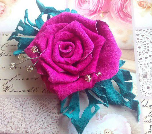 """Броши ручной работы. Ярмарка Мастеров - ручная работа. Купить Брошь """"розовая роза"""". Handmade. Фуксия, брошь роза"""