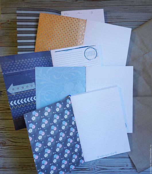 Открытки и скрапбукинг ручной работы. Ярмарка Мастеров - ручная работа. Купить Блоки для блокнотов А5, белые с печатью на страницах. Handmade.