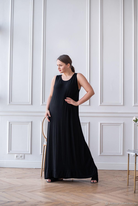 Базовое Платье-майка черное в пол – купить на Ярмарке Мастеров – OFY64RU   Платья, Новосибирск
