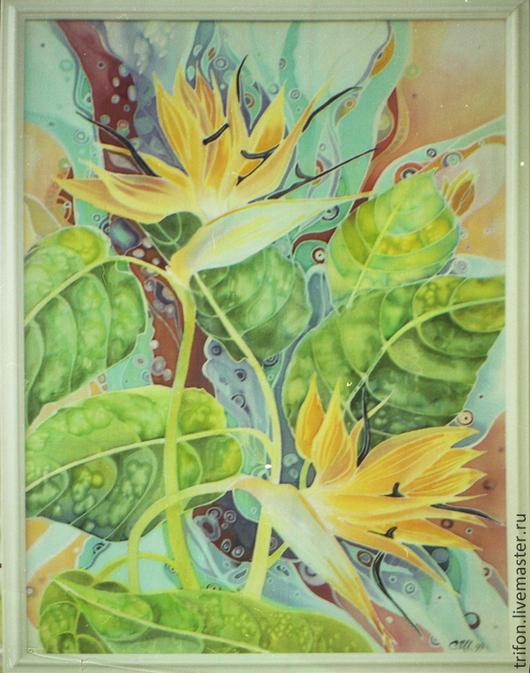 """Картины цветов ручной работы. Ярмарка Мастеров - ручная работа. Купить """"Цветы """" батик. Handmade. Бежевый, батик для интерьера"""