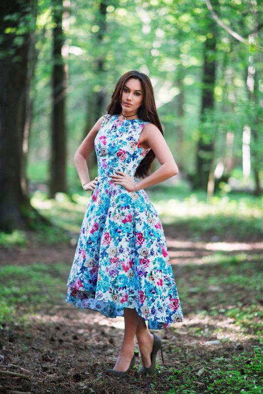 Платья ручной работы. Ярмарка Мастеров - ручная работа. Купить Голубая роза (П018). Handmade. Платье, платье летнее