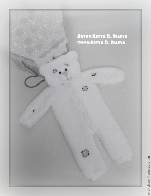 """Одежда ручной работы. Ярмарка Мастеров - ручная работа. Купить Комбинезон """"Тедди -заплатки"""". Handmade. Белый, подарок, комбенизон для малвша"""