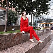 Одежда ручной работы. Ярмарка Мастеров - ручная работа Красный трикотажный костюм (Единственный экземпляр). Handmade.