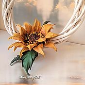 Цветы и флористика handmade. Livemaster - original item Sunflower from the skin -