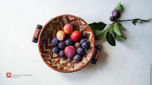 """Тарелки ручной работы. Ярмарка Мастеров - ручная работа. Купить африканская миска, тарелка """"терра"""" раку керамика. Handmade. Оранжевый"""