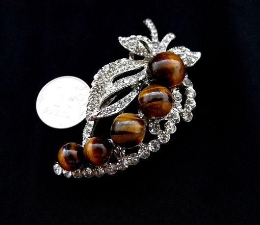 Для украшений ручной работы. Ярмарка Мастеров - ручная работа. Купить Подвеска - брошь тигровый глаз с кристаллами. Handmade.