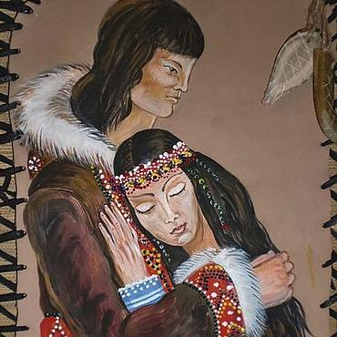 Картины и панно ручной работы. Ярмарка Мастеров - ручная работа Картина на коже Бакыы и Кыыскын. Handmade.