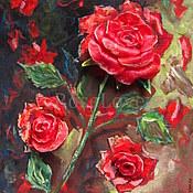 Картины и панно ручной работы. Ярмарка Мастеров - ручная работа Объемная картина «Розы.. в моем саду»Холодный фарфор красный. Handmade.