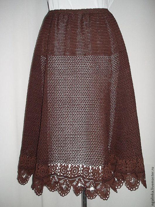Юбки ручной работы. Ярмарка Мастеров - ручная работа. Купить летняя юбка из хлопка Шоколад. Handmade. Коричневый, женская одежда