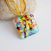 Украшения handmade. Livemaster - original item The pendant is made of Colorful glass fusing jewelry. Handmade.