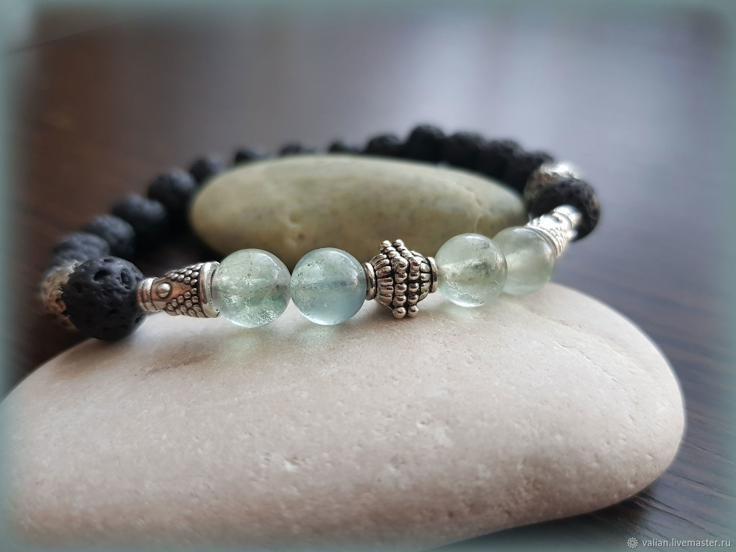 Bracelet Knight of lava and fluorite, Bead bracelet, Moscow,  Фото №1