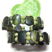Украшения handmade. Livemaster - original item A pair of bracelets made of serpentine Brooding green. Handmade.