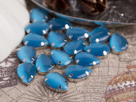 Для украшений ручной работы. Ярмарка Мастеров - ручная работа. Купить Стразы шёлковые капля 18х13мм Голубые Гавайи. Handmade.