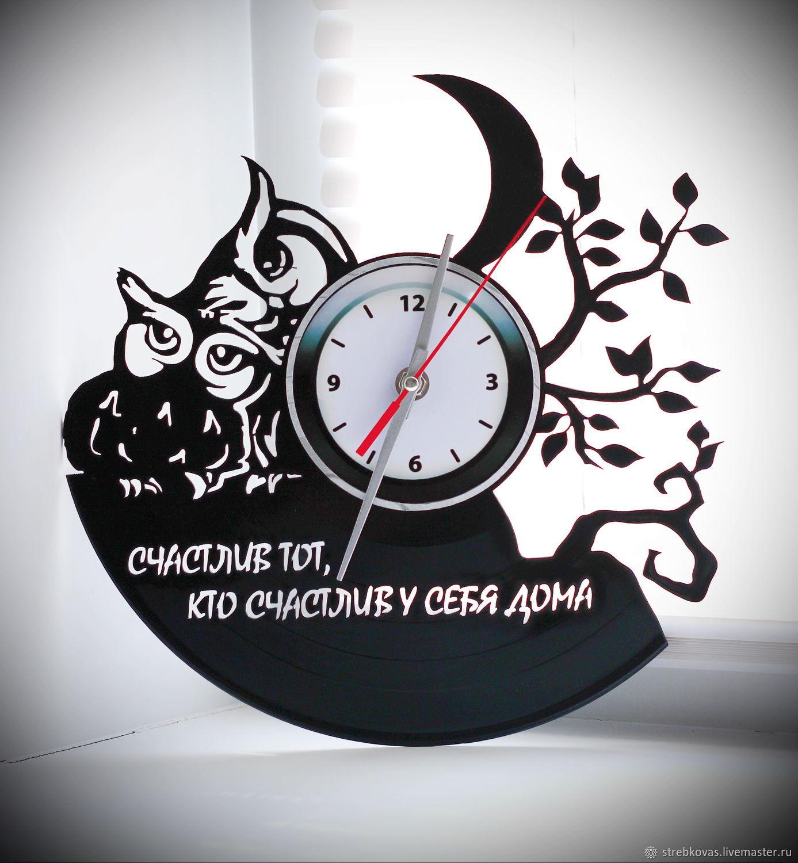 """Clocks handmade. Livemaster - handmade. Buy Wall clock """"owls"""" made from vinyl records.Original gift, interior"""