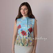 Одежда handmade. Livemaster - original item Felted vest `There`re poppies and cornflowers along wheat field`. Handmade.