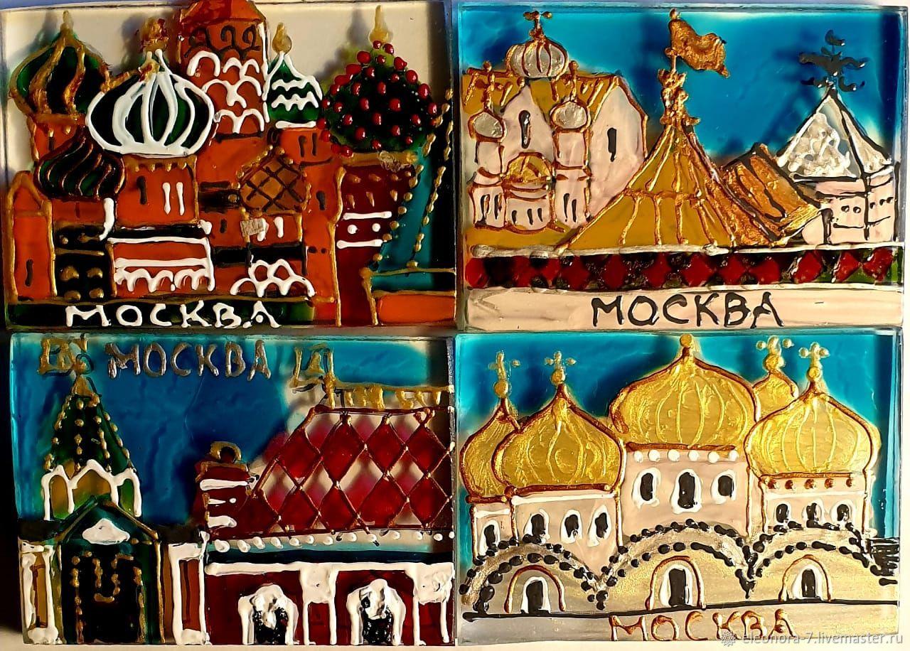 Собор Василия Блаженного, старая Москва, дом с красной крышей ,купола, Магниты, Москва,  Фото №1