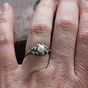 """Винтаж ручной работы. Ярмарка Мастеров - ручная работа Винтажное кольцо """"Снежный цветок"""", жемчуг, фианиты, серебро 925, 80-е. Handmade."""