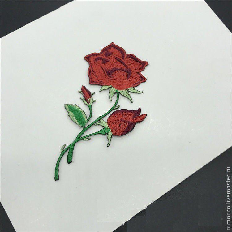 Аппликация розы вышивка