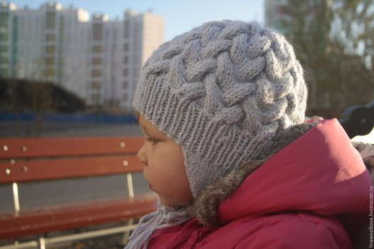 Шапки и шарфы ручной работы. Ярмарка Мастеров - ручная работа. Купить Шапка вязаная для девочки на флисе. Handmade. Голубой
