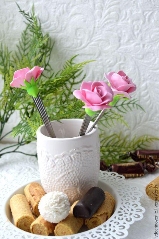 """Ложки ручной работы. Ярмарка Мастеров - ручная работа. Купить Вкусные ложки """"Розы"""".. Handmade. Розовый, ложка с декором"""